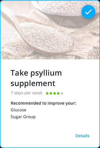 InsideTracker psyllium food card checked